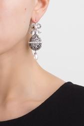 Серебряные серьги с жемчугом и аметистами «Пасхальные Яйца» Axenoff Jewellery