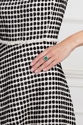 Серебряное кольцо с зеленым агатом и бесцветными топазами «Граф Орлов» Axenoff Jewellery