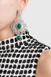Серебряные серьги с зелеными агатами и бесцветными топазами «Пирлипат» Axenoff Jewellery
