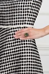 Серебряное кольцо с празеолитом, цаворитами и бесцветными топазами «Купава» Axenoff Jewellery