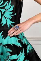 Позолоченное кольцо с кристаллами Oscar de la Renta