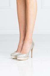 Золотистые Туфли из металлизированной кожи Alex Jimmy Choo