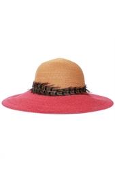 Соломенная шляпа с пером Eugenia Kim