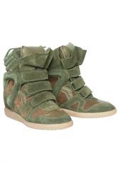 Кожаные кроссовки на скрытой платформе Isabel Marant