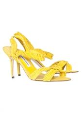 Желтые босоножки на невысоком каблуке Suplizia Manolo Blahnik