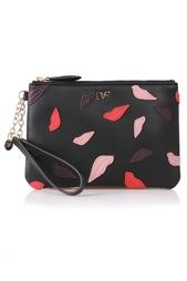 Кожаный кошелек Lips Applique Wristlet Diane von Furstenberg