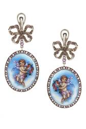 Серебряные серьги «Ангелы» с аметистами и голубыми топазами Axenoff Jewellery