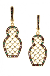 Серебряные серьги «Матрешка» с зелеными агатами Axenoff Jewellery