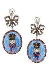 Серебряные серьги «Щелкунчик» с голубыми топазами и гранатами Axenoff Jewellery