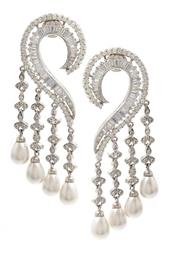 Серьги с цирконами Pearl Drops Jewel Mania