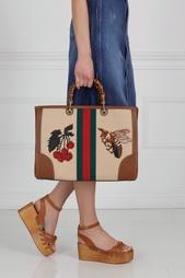 Сумка из кожи, льна и хлопка Bamboo Shopper Gucci