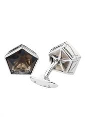 Серебряные запонки с дымчатым кварцем Gourji