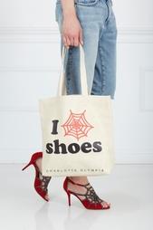 Сумка из замши и хлопка I Love CO Shoes Charlotte Olympia