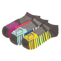 Носки низкие женские Roxy 3pk Diagnal Stripe Ns Grey Heather