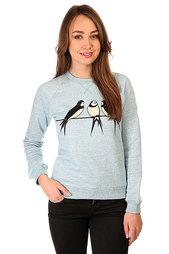 Толстовка свитшот женская Запорожец Ласточки Серо-Голубой Меланж