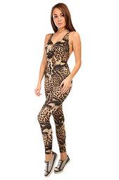Комбинезон для фитнеса женский CajuBrasil Supplex Overall Black/Beige/Leo