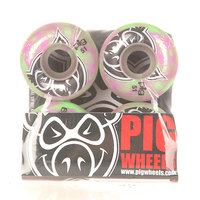 Колеса для скейтборда для скейтборда Pig Head Swirls New Green/Pink 100A 51 mm