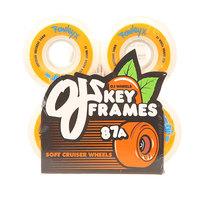 Колеса для скейтборда для лонгборда Oj Rowley Keyframe White/Orange 87A 54 mm