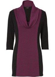 Пуловер (черный/серо-синий с узором) Bonprix