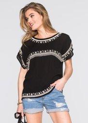Блузка в этническом стиле (черный/цвет белой шерсти) Bonprix
