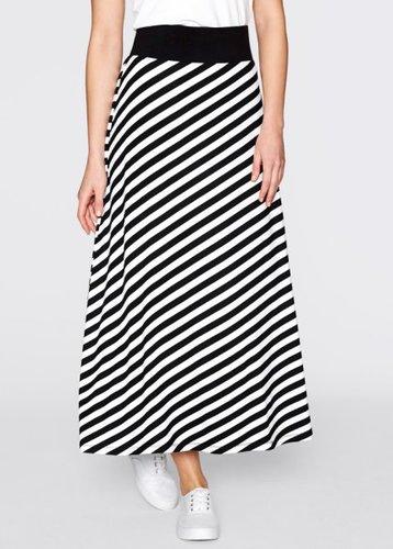 Трикотажная юбка (черный/белый в полоску)