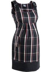 Мода для беременных: офисное платье в клетку (черный/дымчато-серый/серебрист) Bonprix