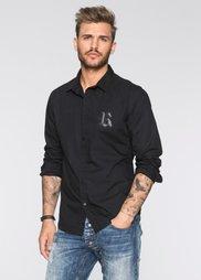 Рубашка Slim Fit с длинным рукавом (черный) Bonprix