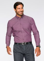 Рубашка Regular Fit с длинным рукавом (бордовый с узором) Bonprix