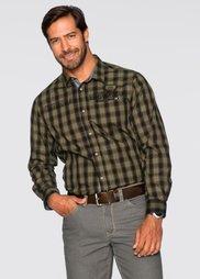 Клетчатая рубашка Regular Fit с длинным рукавом (зеленый хаки в клетку) Bonprix