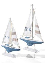 Декоративная фигурка Корабль (2 шт.) (белый/серый) Bonprix