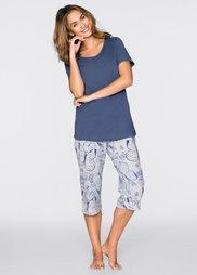 Пижама-капри (индиго/светло-серый меланж с п) Bonprix