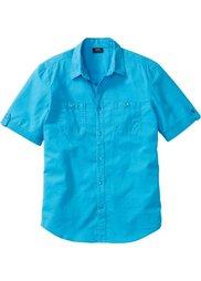 Рубашка Regular Fit из льна и хлопка (голубой/белый меланж) Bonprix