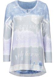 Вязаная футболка (кремовый/мятный/серый с принто) Bonprix