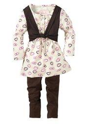 Платье + легинсы, (комплект из 2-х изделий) (сиреневый/темно-лиловый) Bonprix