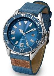Часы спортивного дизайна на джинсовом ремешке (деним/розово-золотистый) Bonprix
