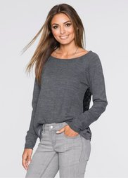 Пуловер (антрацитовый/черный) Bonprix