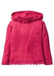 Вязаный пуловер с капюшоном и кружевной отделкой, Размеры  80/86-128/134 (кремовый) Bonprix