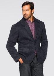 Вязаный пиджак Regular Fit с шерстью, cредний рост (N) (темно-синий меланж) Bonprix