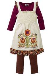 Платье, футболка + легинсы, (комплект из 3-х изделий) (темно-лиловый) Bonprix