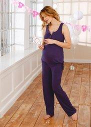 Пижама для будущих и кормящих мам (темно-лиловый) Bonprix