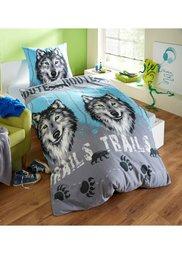 Постельное белье Волк, линон (синий) Bonprix