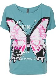 Футболка с бабочкой (цвет белой шерсти/ярко-розовый) Bonprix