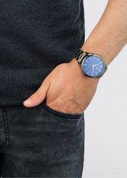 Мужские часы на металлическом браслете (черненый серебристый) Bonprix