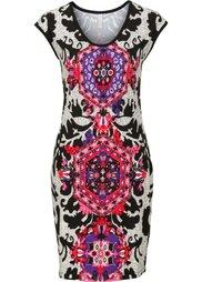 Короткое трикотажное платье (черный/белый/бирюзовый) Bonprix