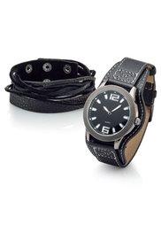 Набор из 2х изделий: кожаный браслет и часы на кожаном ремешке (коричневый) Bonprix