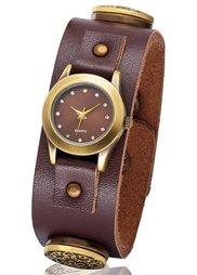 Наручные часы на клепках (серо-коричневый/серебристый) Bonprix