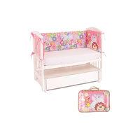 Бортик в кроватку Цветочный зоопарк, Leader kids, розовый