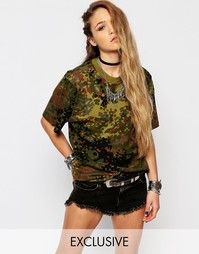 Oversize-футболка с камуфляжным принтом Reclaimed Vintage - Хаки