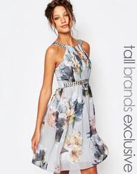 Короткое приталенное платье с цветочным принтом Little Miss Tall