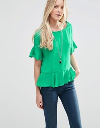 Темно-зеленая блузка с рукавом‑бабочка Vila Ruti